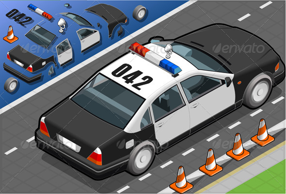 GraphicRiver Isometric Police Car in Rear View 4592958