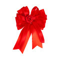 Festive red bow made of ribbon isolated on white - PhotoDune Item for Sale