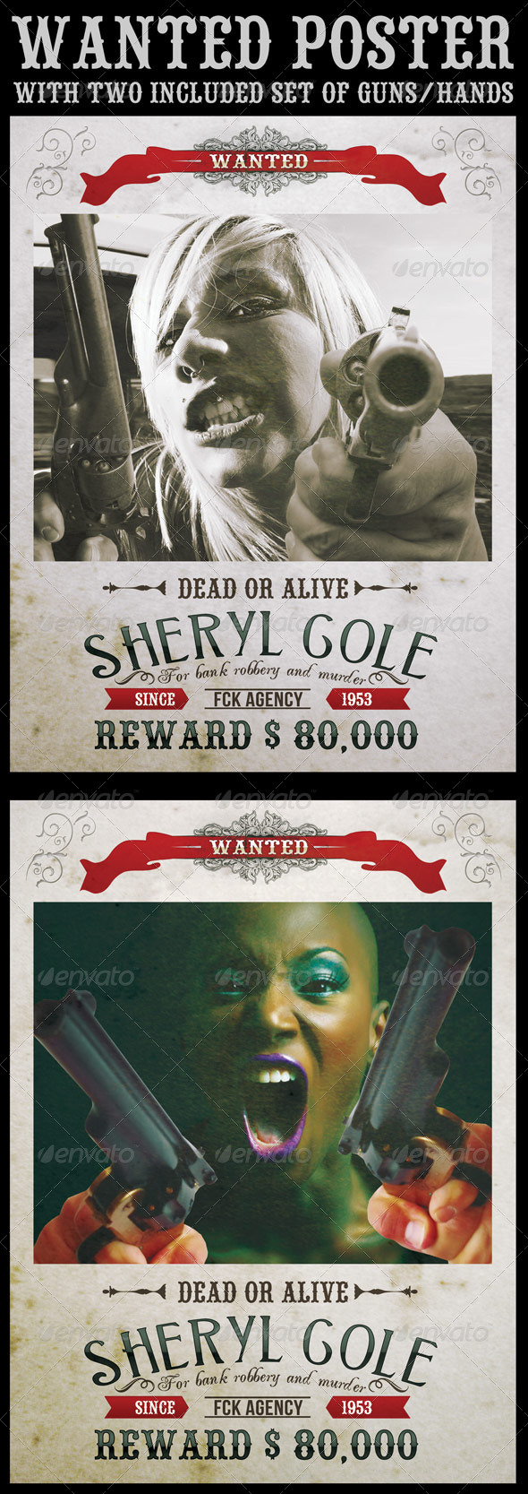 Wanted Poster with Included Guns - Flyers Print Templates