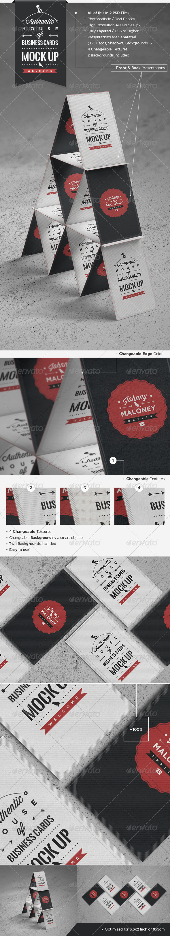 GraphicRiver House of Business Cards Mock-Up 4594861