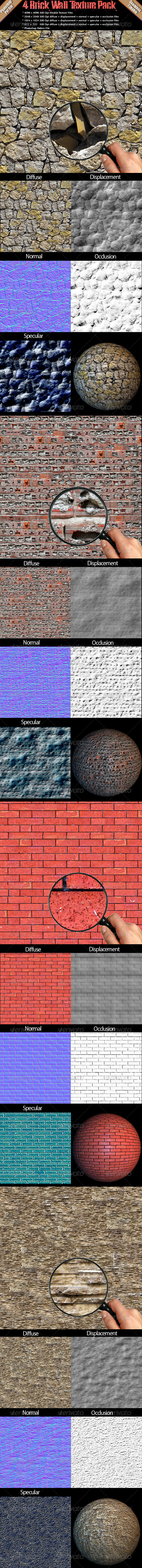 3DOcean 4 Brick Wall Texture Pack 4594938