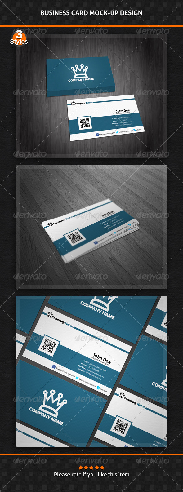 GraphicRiver Business Card Mock-Up Pack 3 Styles 4595565