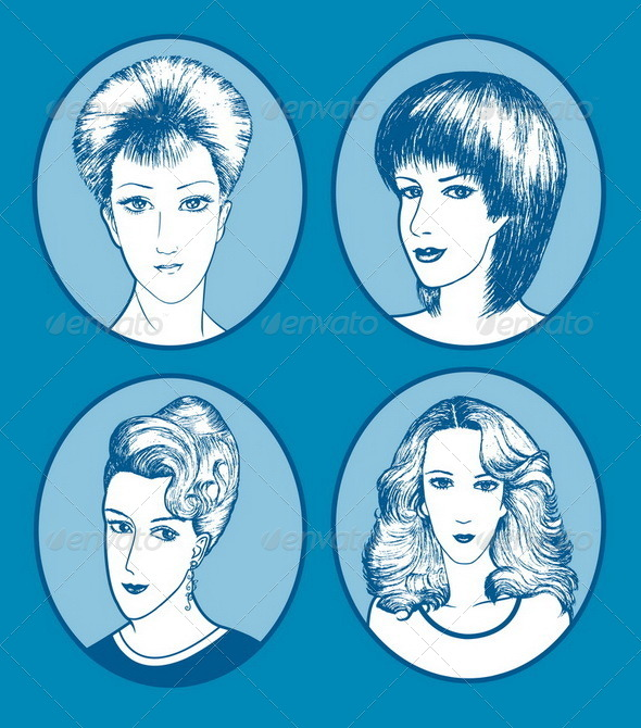 GraphicRiver Hair Style Hand Drawn 4596203