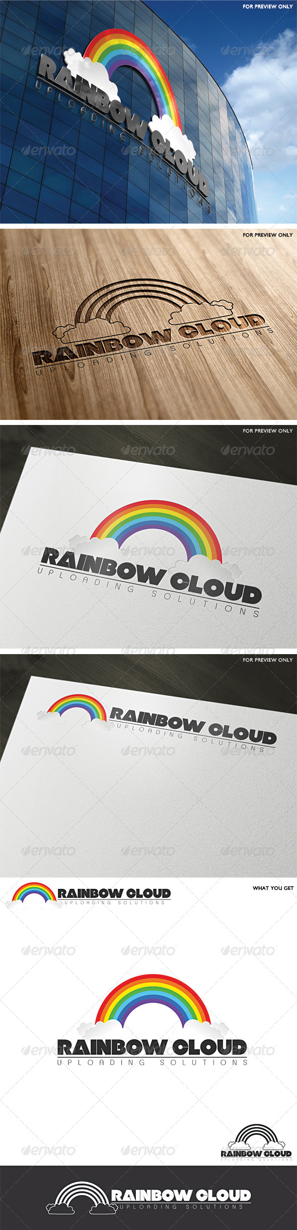 GraphicRiver Rainbow Cloud Logo Template 3787452