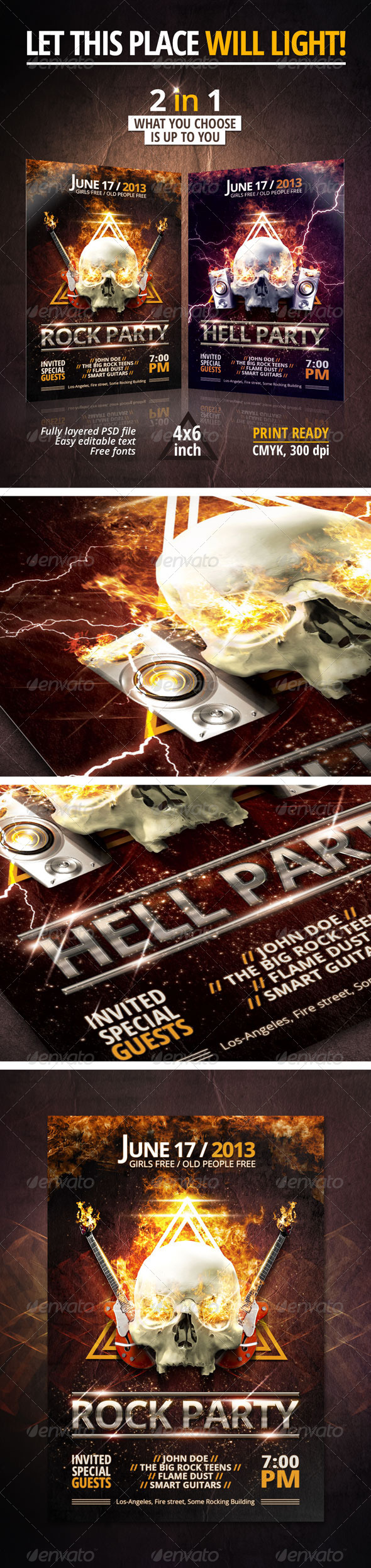 GraphicRiver Rock Hell Party Flyer 4596527