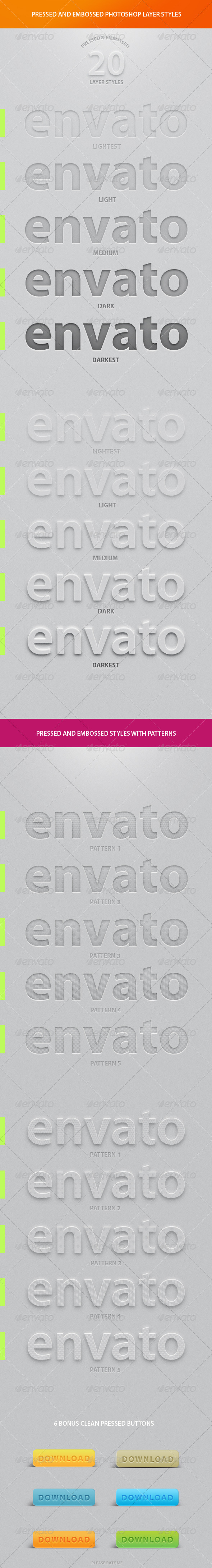 GraphicRiver 20 Best Pressed & Embossed Photoshop Layer Styles 4596688