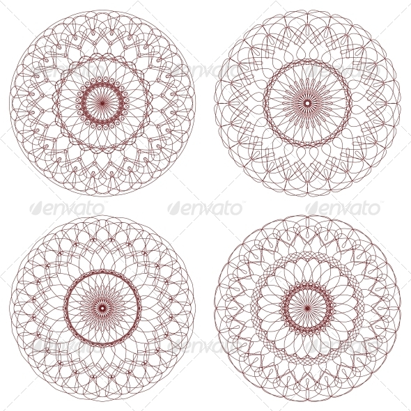GraphicRiver Set of Vector Guilloche Rosettes 4596893