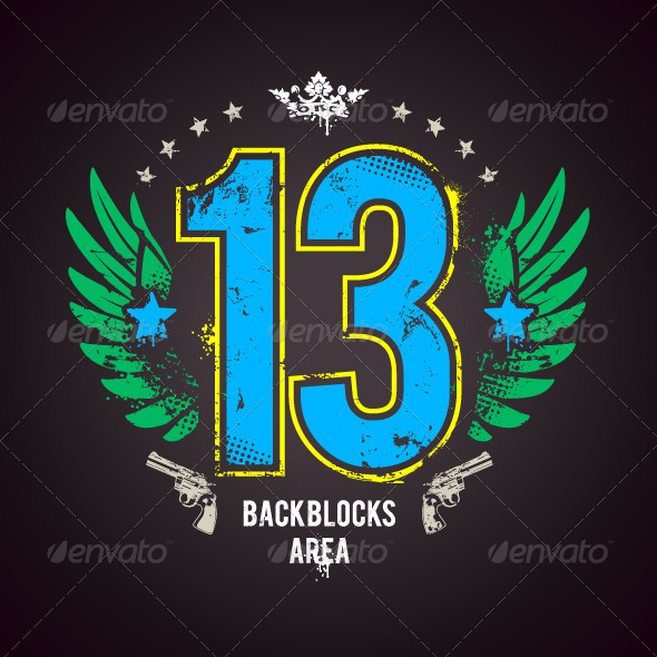 GraphicRiver Grunge Print with Lucky Number 4596994