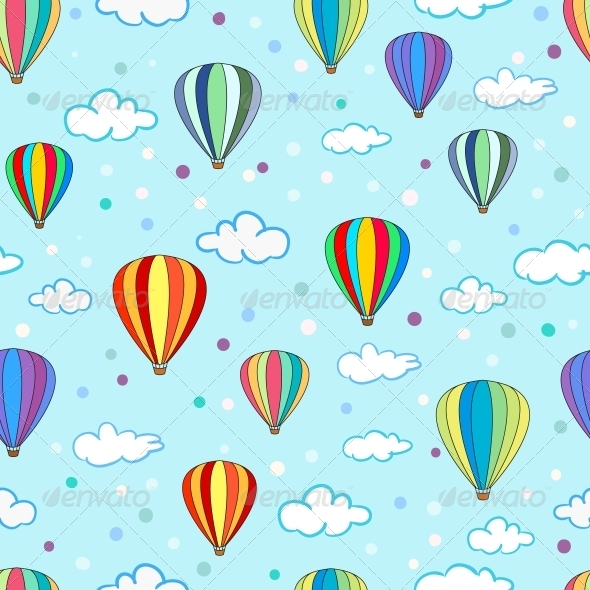 Love Balloon With cartoon Wallpaper : Seamless Hot Air Balloon Pattern GraphicRiver