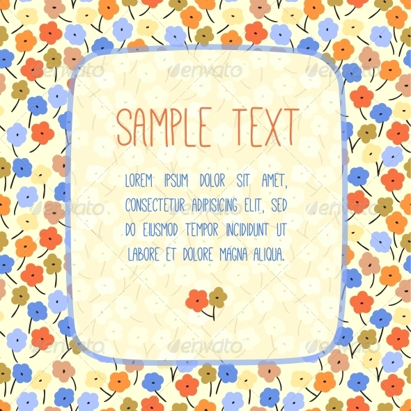 GraphicRiver Hand Drawn Vector Card Template with Flowers 4597618