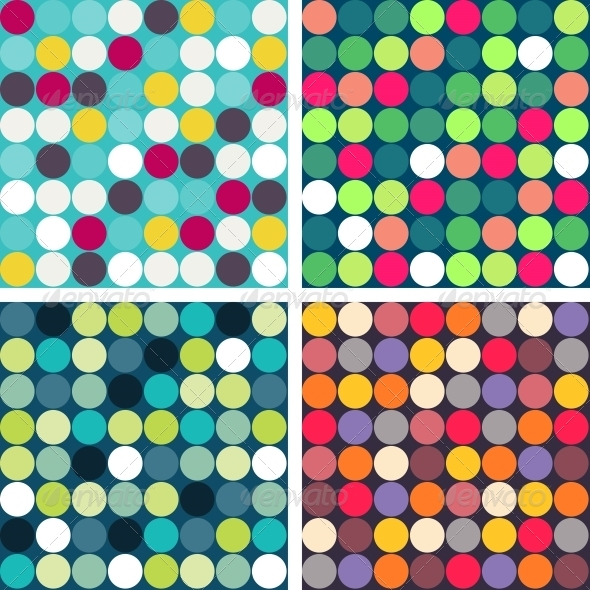 GraphicRiver Set of 4 Colorful Vector Seamless Patterns 4597693