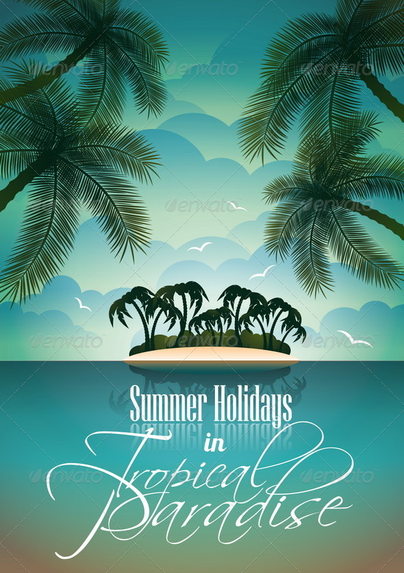 GraphicRiver Summer Holiday Flyer Design with Palm Trees 4597697