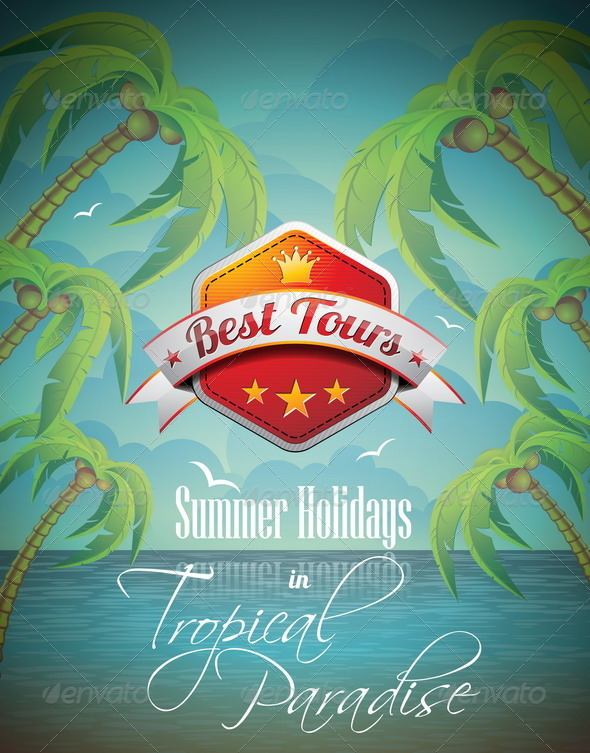 GraphicRiver Summer Holiday Flyer Design with Palm Trees 4597704