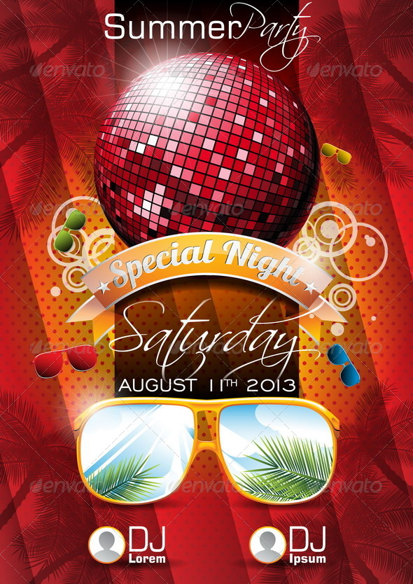 GraphicRiver Vector Summer Beach Party Flyer Design with Disco 4597823