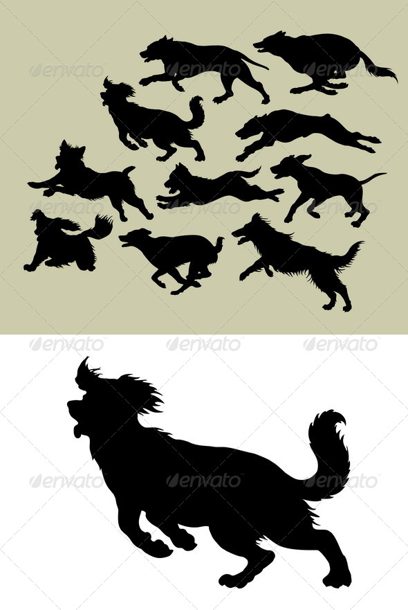 GraphicRiver Dog Running Silhouettes 4597830