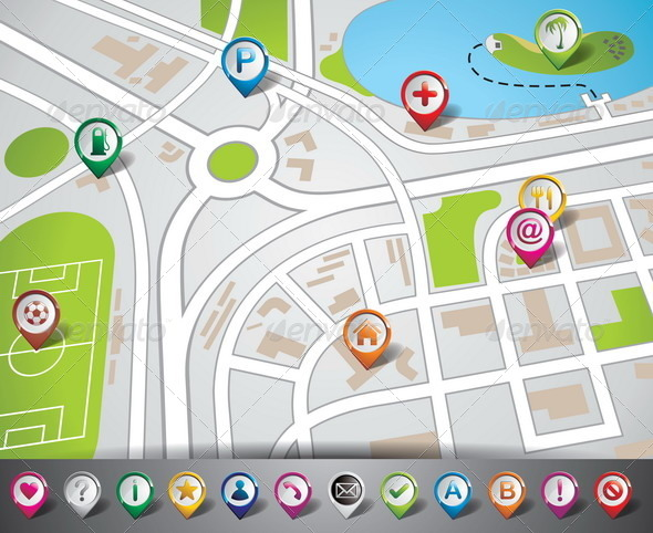 GraphicRiver Vector Map Illustration with Pointer Set 4597909