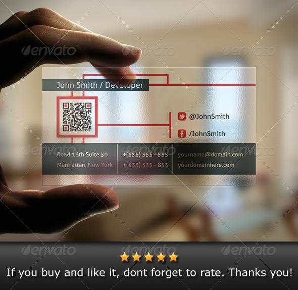 GraphicRiver Transparent QR Code Business Card 4598143