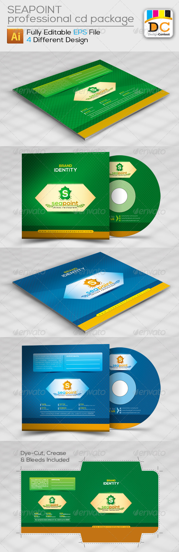 GraphicRiver Sea Point CD Sleeve Label & Sticker 4598215