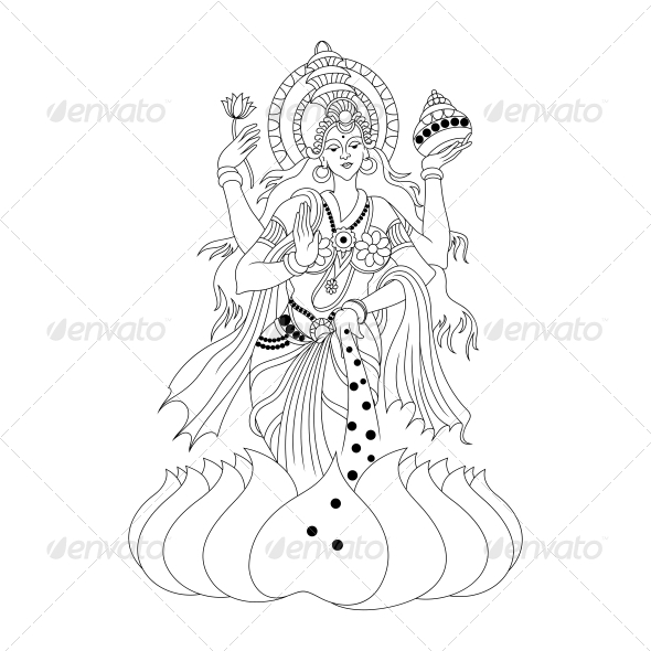 GraphicRiver Hindu Goddess Lakshmi or Luxmi Vector Design 4598217
