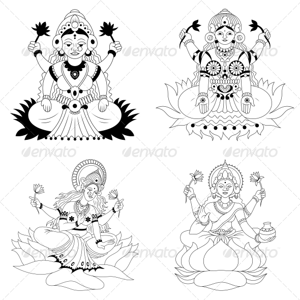 GraphicRiver Hindu Goddess Lakshmi or Luxmi Vector Pack 4598417