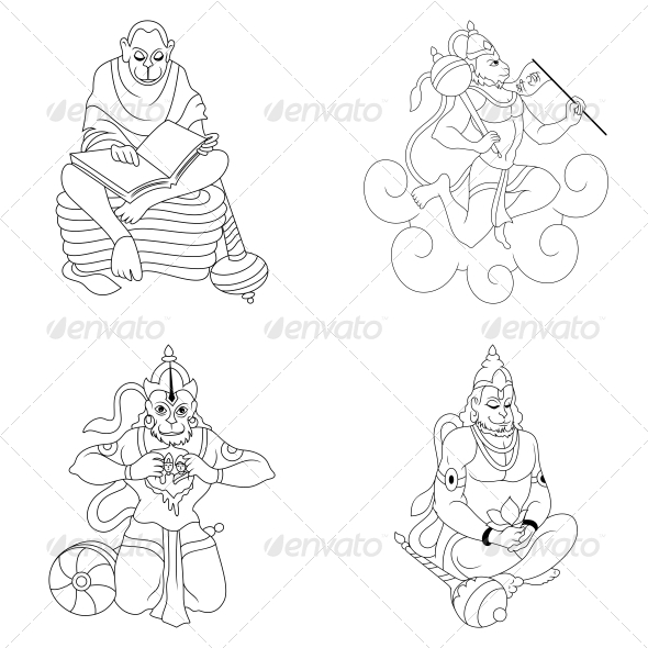 GraphicRiver Hindu Lord Hanumaan Religious Vector Designs Pack 4598626