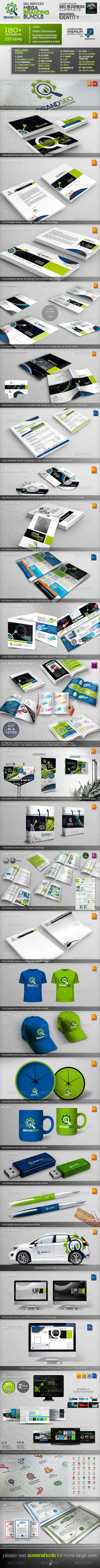 BrandSEO: SEO Business ID Mega Branding Bundle - Stationery Print Templates