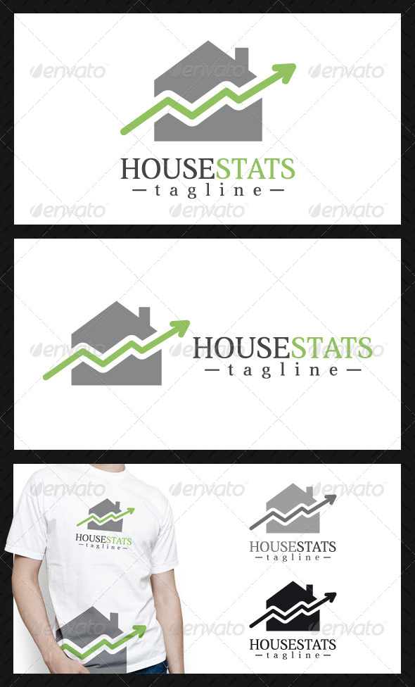 GraphicRiver House Stats Logo Template 4599182