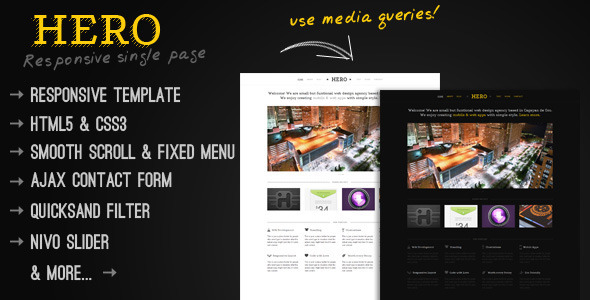 Hero - A Responsive Single Page Template - ThemeForest Item for Sale