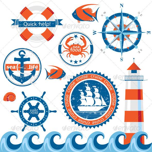 GraphicRiver Sea Emblems 4599694