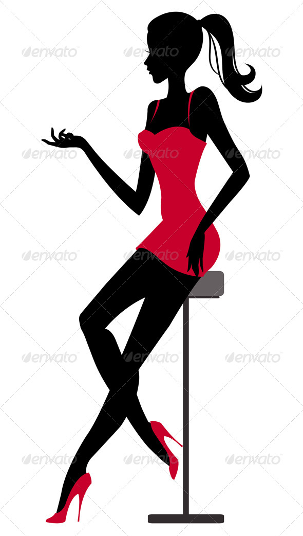 GraphicRiver Silhouette of Girl sitting at the Bar 4599720