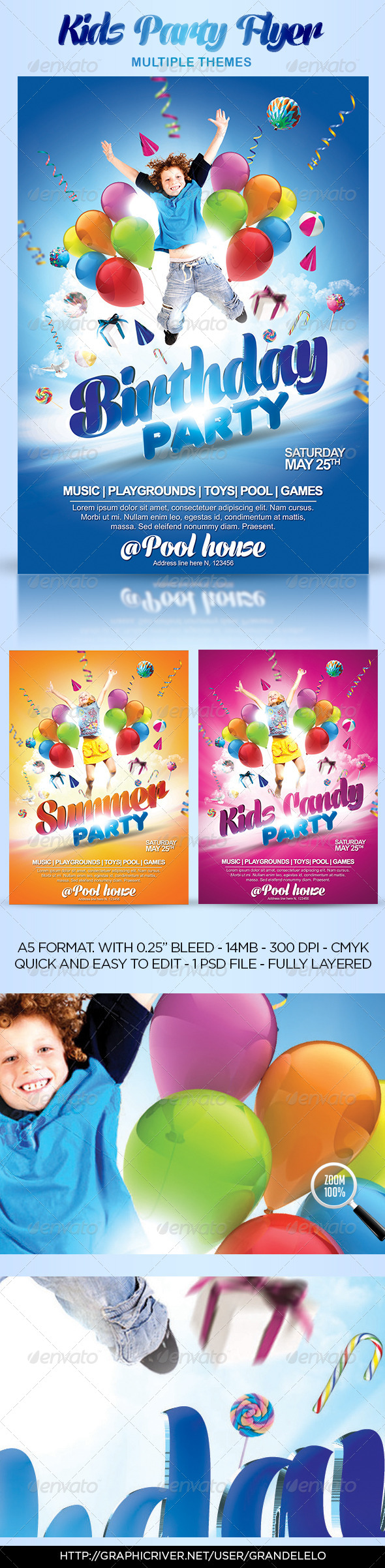 GraphicRiver Kids Party Flyer Themes 4512615