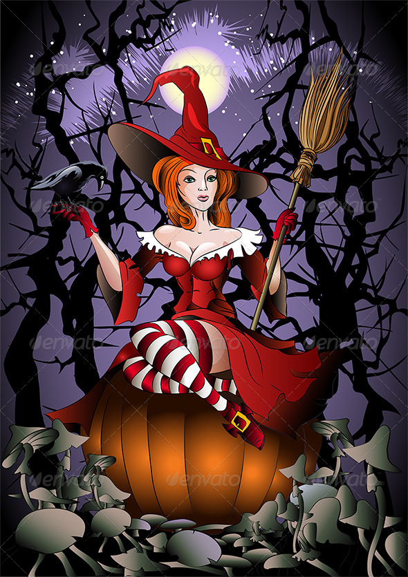 GraphicRiver The Witch with a Crow 4599975