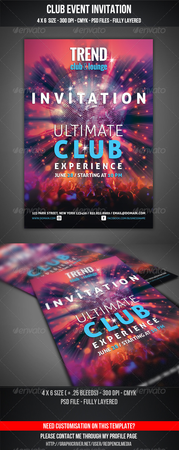 GraphicRiver Club Event Invitation 4599985