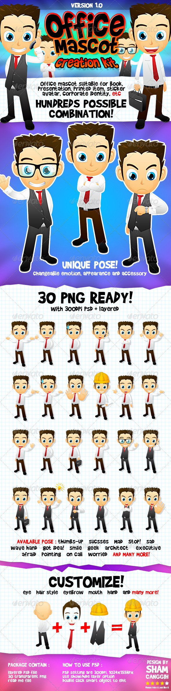 GraphicRiver Male Office And Business Mascot Part 1 4600019