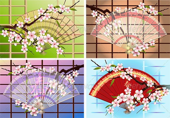 GraphicRiver The Japanese Fan Set 4600077
