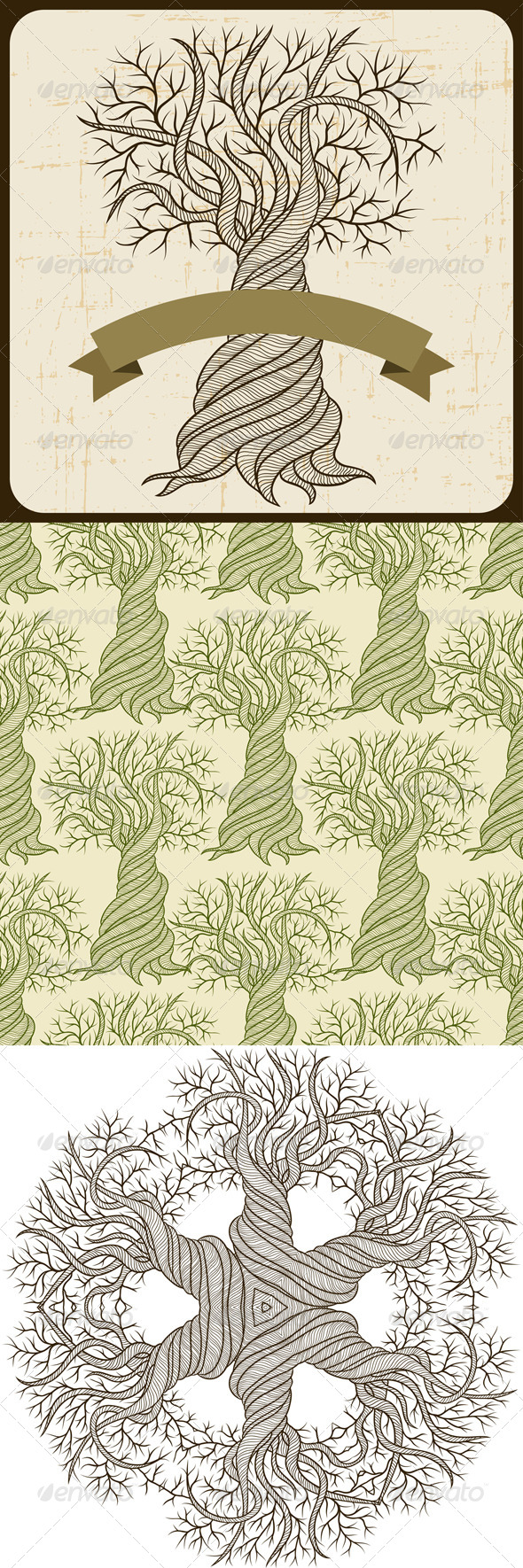 Backgrounds and seamless pattern with trees
