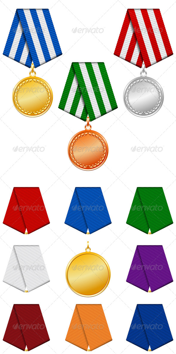 Gold Silver and Bronze Medals on Ribbon