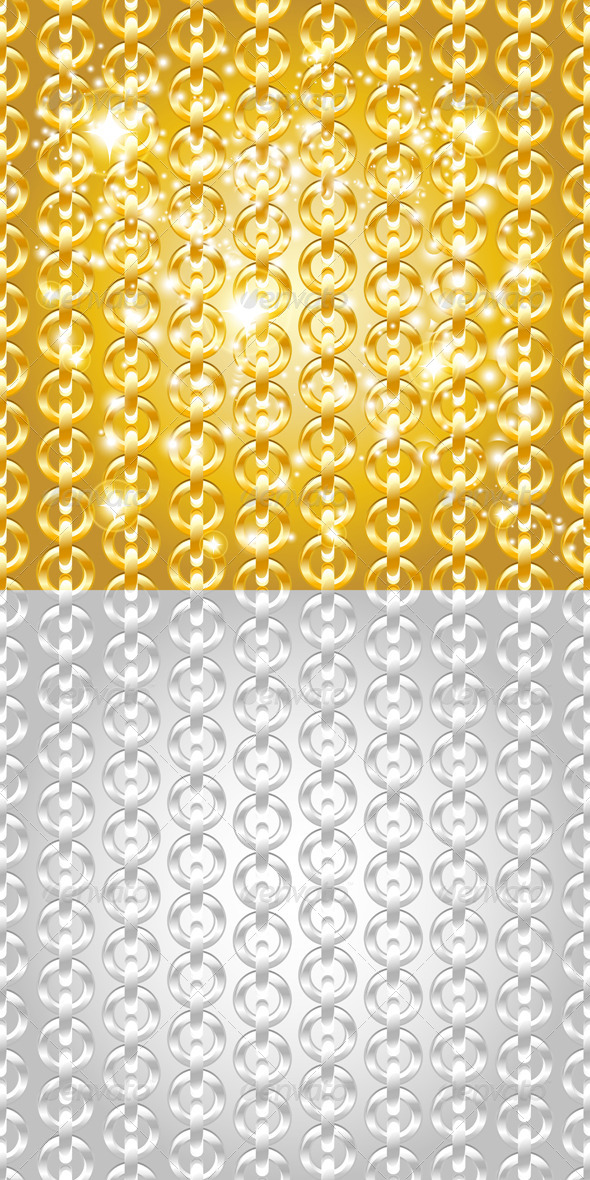 GraphicRiver Gold and Silver Chain Seamless Abstract Patterns 4600236