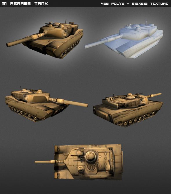 3DOcean M1 Abrams Tank Lowpoly 4595907