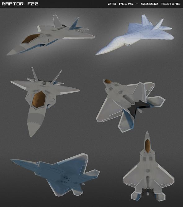 3DOcean F22 Raptor Lowpoly 4595866
