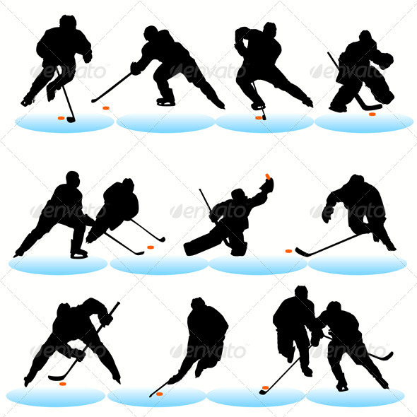 GraphicRiver Ice Hockey Players Silhouettes Set 481111