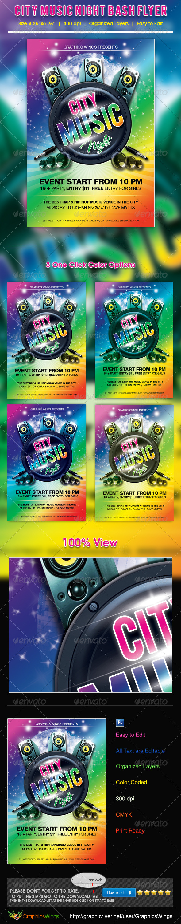 GraphicRiver City Music Night Bash Flyer Template 4520875