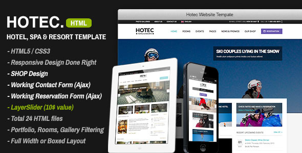 ThemeForest Hotec Responsive Hotel Spa & Resort Template 4588298