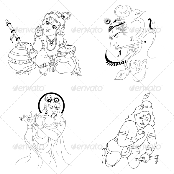 GraphicRiver Hindu Lord Krishna Religious Vector Designs Pack 4601793