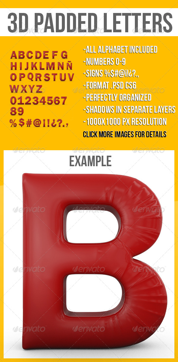 GraphicRiver 3D Padded Letters 4602008