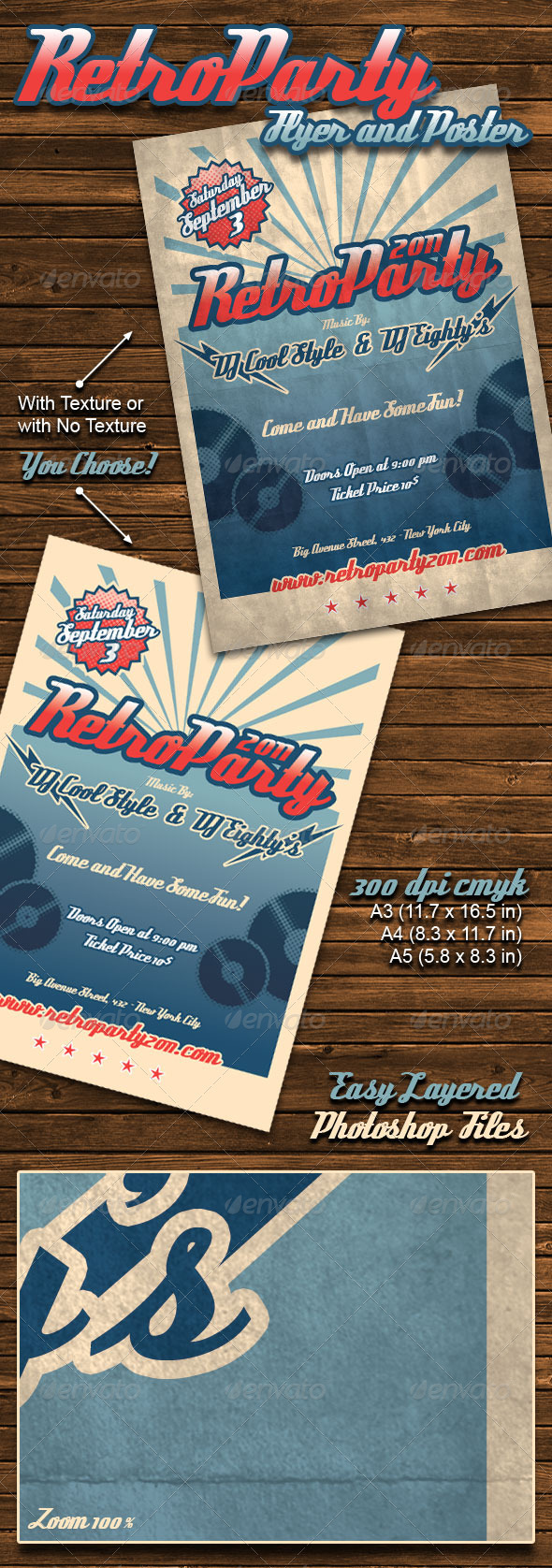 Retro Party Flyer Poster - Clubs & Parties Events