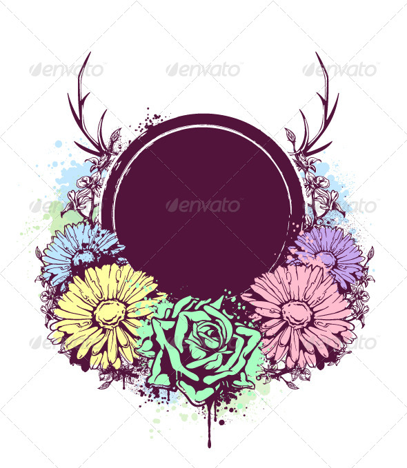 GraphicRiver Grunge Circle Banner with Flowers 4602541