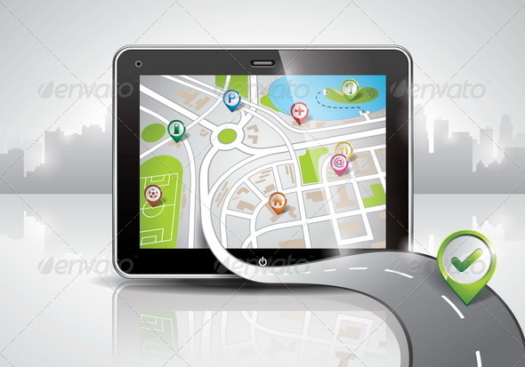 GraphicRiver Map Illustration with Shiny PDA Device 4602542