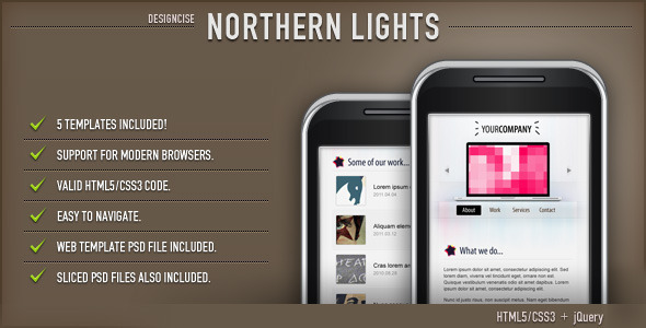 Nothern Lights HTML Template (Mobile) - ThemeForest Item for Sale