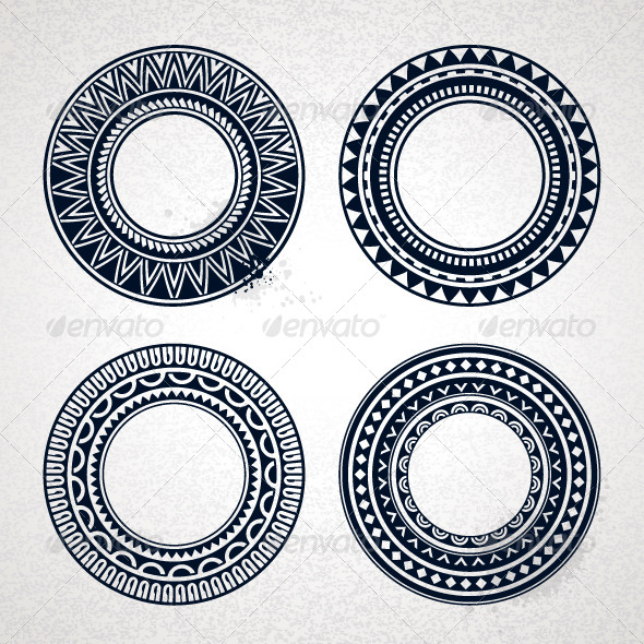 Polynesian Tattoo Styled Frames - Patterns Decorative